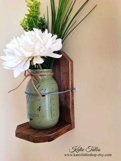 Rustic Wood Wall Sconce with Painted and Distressed Mason Jar. Rustic Home Decor. House Wears. Painted Mason Jars. Wall Sconce. Wood.