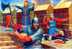 Byzantine troops defending the walls of Constantinople