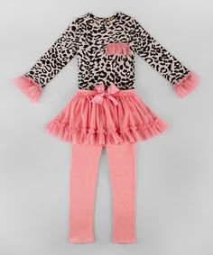 Look at this #zulilyfind! Gray Leopard Tunic & Pink Skirted Leggings - Toddler & Girls #zulilyfinds