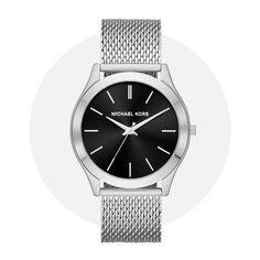 Michael Kors Slim Runway Silver Black Mk8606 Michael Kors Watch, Runway, Stainless Steel, Slim, Watches, Silver, Accessories, Black, Cat Walk