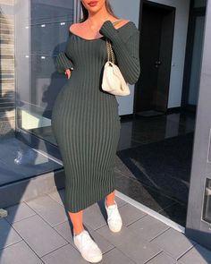 Buy Ribbed Long Sleeve Bodycon Dress in the online store BigShopStyle Curvy Girl Outfits, Cute Casual Outfits, Stylish Outfits, Casual Dresses, T Shirt Dresses, Smocked Dresses, Work Dresses, Sweater Dresses, Sleeve Dresses