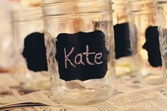My favorite part are the mason jars with the chalkboard paint so the guests could write their names on their drinks