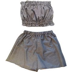 Gingham Co-ord Bustier Two Piece Twinset Womens Fashion Clothes Short... (24 AUD) ❤ liked on Polyvore featuring dresses, shorts, tops, sets and high waisted two piece