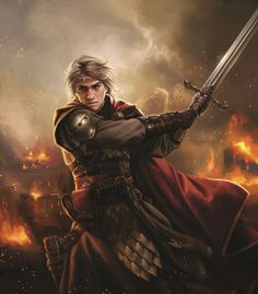 """Aegon der Eroberer kämpft in der Schlacht (von Magali Villeneuve aus """"Die Welt von Eis und Feuer)."""