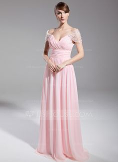 A-Line/Princess Off-the-Shoulder Floor-Length Chiffon Tulle Evening Dress With Ruffle Beading (008014708)
