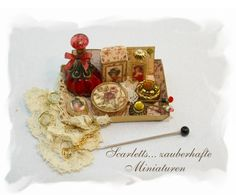 Miniatures that are so detailed and fine. Ladys perfume tray OOAK Dollhouse scale 1/12 by Scarletts45, €30.00