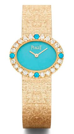 Extremely Piaget watch in yellow gold with a turquoise dial and set with diamonds and cabochon turquoise