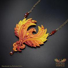 *Phoenix* Magickal, Handmade Statement Art Necklace - wizArts Phoenix Jewelry, Art Necklaces, Jewelry Art, Jewlery, Polymer Clay Necklace, Gold Filled Chain, Magick, Unique Art, Wearable Art