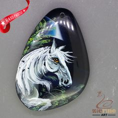 Unique Hand Painted horse Pendant Natural Gemstone With Silver Bail  ZL807175 #ZL #Pendant