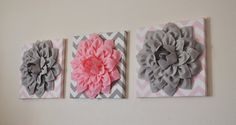 THREE Flower Wall Decor Gray And Light Pink 12 x 12 by bedbuggs