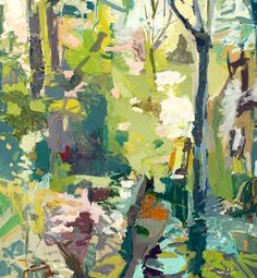 "Ryan Cobourn's ""Woods"" painting is also highly abstract"