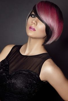Black and pink hair, striking Cool Short Hairstyles, Undercut Hairstyles, Creative Hairstyles, Short Hair Styles, Competition Hair, Creative Hair Color, Multicolored Hair, Corte Y Color, Hair Shows