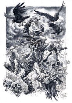Duncan Fegredo Scarecrow, in Alan N's Duncan Fegredo Comic Art Gallery Room Scarecrow Tattoo, Scarecrow Drawing, Scarecrow Batman, Scarecrow Costume, Comic Book Artists, Comic Artist, Comic Books Art, Art Sketches, Art Drawings