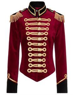 Pinky Laing - Red Velvet Military Jacket