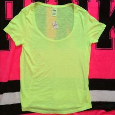 VS PINK SCOOP NECK Tee NWT!  This NEON yellow SCOOP NECK is a comfy and stylish fit for wherever you go! PINK Victoria's Secret Tops Tees - Short Sleeve