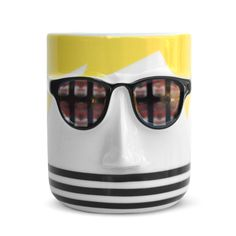 Andy Warhol Artist Mug - The Met Store This witty artist mug features the unmistakable mop of white hair and dark sunglasses of Andy Warhol (American, The singular work of the beloved Pop artist is well-represented in The Met collection. Andy Warhol Artist, White Hair, Art For Sale, Mugs, Store, Inspiration, Clearance Sale, Gift Ideas, Inspired