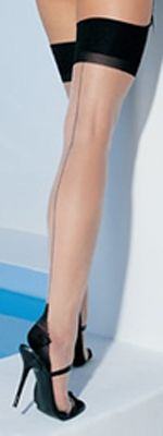 Thigh High Sheer Nude with Backseam & Cuban Heel Stockings
