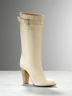 BACK IN STOCK! http://patriziape.pe/10u79a9  High-heeled boots, in nappa calfskin, with buckle, Fly with charm Patrizia Pepe, on the right one only, 100mm heel, wooden