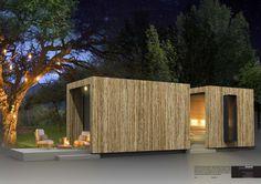 Combinatie schuur en sauna met smal laat je voor douche/koel