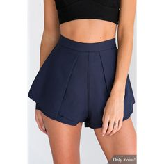 Yoins High-rise Overlay Pleated Shorts in Navy (21 AUD) ❤ liked on Polyvore featuring shorts, navy, double layer shorts, navy shorts, high-rise shorts, navy blue high waisted shorts and navy blue shorts
