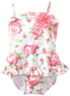 Amazon.com Little Me Baby-girls Infant Rose Swimsuit Clothing  sc 1 st  Pinterest : baby swimming costumes  - Germanpascual.Com