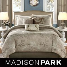 @Overstock - Update your bedroom with this chic seven-piece comforter set. This set with jacquard leaf motif includes a comforter, bedskirt, two shams, and three decorative pillows. Make over your sleeping area easily with this beautiful new bedroom set.http://www.overstock.com/Bedding-Bath/Madison-Park-Nadia-7-piece-Comforter-Set/7109373/product.html?CID=214117 $98.99