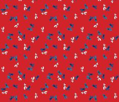 Little blue and white bows on red background - 1940s fabric by eloise_varin on Spoonflower - custom fabric