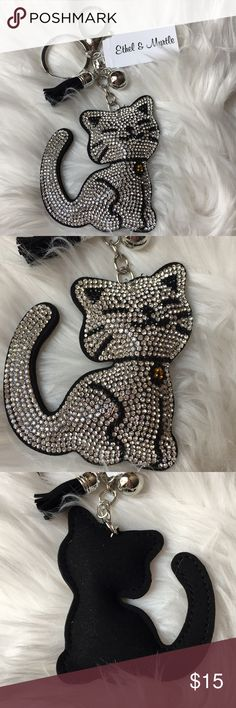 Meow Meow Kitty Bling Purse Charm For all my cat lovers out there! I'm selling a sparkly silver and black kitty purse farm or key chain. Makes a great gift for someone or yourself 😺 Accessories Key & Card Holders