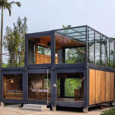 Container House Discover a work of substance stacks shipping containers for marketing suite in hong kong Container Architecture, Container Buildings, Sustainable Architecture, Wood Architecture, Tiny House Cabin, Tiny House Design, Shipping Container Home Designs, Shipping Containers, Shipping Container Interior