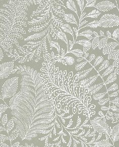 A botanical wallpaper fit for a classic home. The sage green background and whit… A botanical wallpaper fit for a Sage Green Wallpaper, Accent Wallpaper, Plant Wallpaper, Botanical Wallpaper, Bathroom Wallpaper, Pattern Wallpaper, Green Kitchen Wallpaper, Hallway Wallpaper, Wallpaper Designs