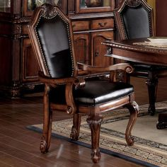 Chateau De Ville Side Chair (Set of in Black PU & Cherry - Acme Furniture 10038 10038 Features: Padded Seat & Back: Leather Like CushionNail Head Trim: Back Approximate Dimension: x x Item Weight: 44 lbs. Upholstered Arm Chair, Dining Arm Chair, Dining Room Chairs, Side Chairs, Kitchen Chairs, Dining Table, Acme Furniture, Living Room Furniture, Furniture Online