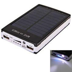 30000mAh Dual USB Portable Solar Panel Power Bank for iPhone/iPad/Samsung S4/LG