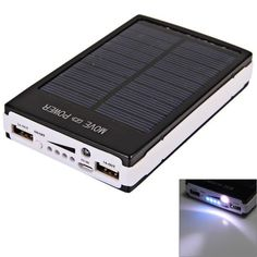 30000mAh Dual USB Portable Solar Panel Power Bank for iPhone/iPad/Samsung S4/LG