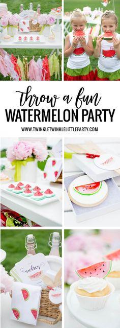 Throw a Fun Watermelon Party Watermelon Birthday Parties, Watermelon Baby, 2nd Birthday Parties, Birthday Ideas, Watermelon Party Decorations, Watermelon Patch, Fruit Birthday, Twin Birthday, Summer Birthday