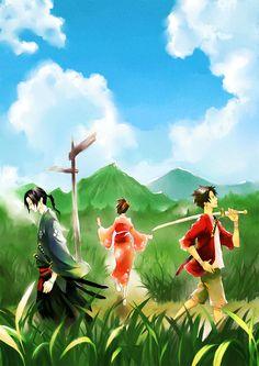 Samurai Champloo, Kasumi Fuu, Mugen (Samurai Champloo), Jin (Samurai Champloo), Street, Sunflower