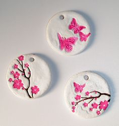 salt dough cherry blossom ornaments