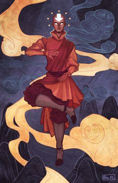 """""""Air - Breana Melvin (PRINTS)"""" The Legend of Korra/Avatar: The Last Airbender Gallery Nucleus exhibition opens tomorrow night, and my Aang piece got in. This is part one in a series of pieces that will depict the other main Avatars of series (i.e...."""