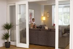 Centre doors open Made to Measure Internal Finesse bifold doors with white finish