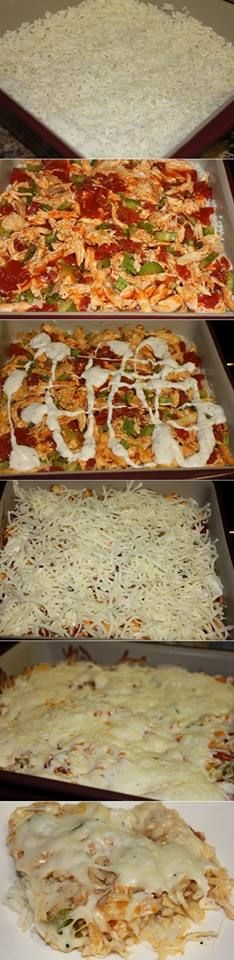 Buffalo Chicken Casserole Recipe Ingredients cup uncooked regular long-grain white rice 1 cup water 1 tablespoon olive or vegetable oil 1 lb boneless skinless chicken breasts, cut into thin str… I Love Food, Good Food, Yummy Food, Buffalo Chicken Casserole, Great Recipes, Favorite Recipes, Easy Recipes, Def Not, Comfort Food