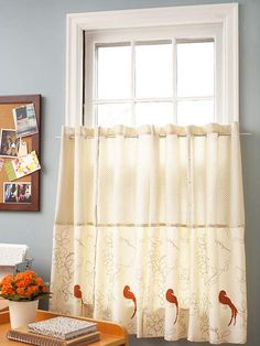 Turn patterned cloth napkins into a kicky pair of curtains by joining their edges with jeans rivets spaced every 2 inches: http://www.bhg.com/decorating/window-treatments/no-sew-windows/easy-no-sew-window-treatments/?socsrc=bhgpin033014napkincafecurtains