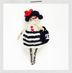 """The French fashionista """"Danielle"""" kit combines basic crochet, knitting and embroidery in a kit set, while providing a lot of fun during the creation of this lovely lady. Crochet Gifts, Knit Crochet, Crochet Basics, First Girl, Softies, Beautiful Dolls, Home Crafts, Gifts For Kids, Kit"""