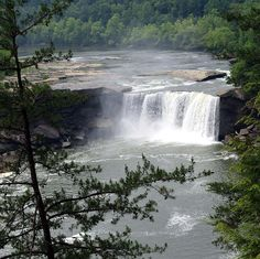 Cumberland Falls, sometimes called the Little Niagara, the Niagara of the South, or the Great Falls, is a large waterfall on the Cumberland River in southeastern Kentucky. Spanning the river at the border of McCreary and Whitley counties, the waterfall is the central feature of Cumberland Falls State Resort Park. On average the falls, which flow over a resistant sandstone bed, are 68 feet (21 m) high and 125 feet (38 m) wide, with an average water flow of 3,600 cubic feet per second (100…
