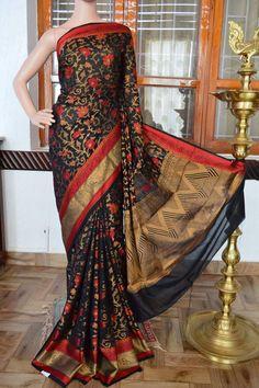 Black flower motifs cotton banarasi silk saree. Code: J0617VB172815 Cost: 3000 INR  Mail: vasthramsilk@gmail.com Whats app: +91 7019277192 Status: Available #banarassilksaree #silksarees #silksaree