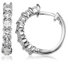 Goldminetrade Sterling Silver Simulated Diamond Hoop Earrings