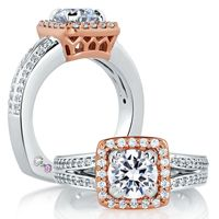 Two Tone Split Shank With Regal Carriage Center Setting Engagement Ring