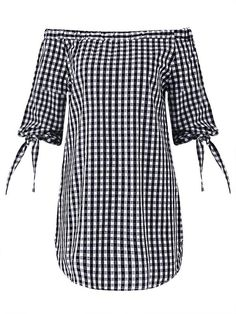 Women Sexy Off-shoulder Checked Pattern Three quarter sleeve Slash Neck Mini Dress - Gchoic.com #Dresses #Women #Fashion #Latest