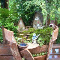 Fairy Gardens In Broken Terra Cotta Pots