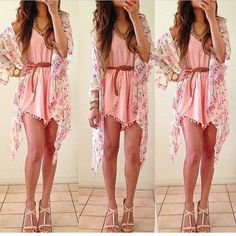 Pink summer dress with floral cardigan