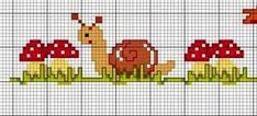 **Blog Amor Perfeito** Gráficos de ponto cruz: Caramujos e centopéias Cat Cross Stitches, Cross Stitching, Cross Stitch Embroidery, Cross Stitch Patterns, Cross Stitch Sea, Cute Cross Stitch, Cross Stitch Alphabet, Hand Embroidery Projects, Hand Embroidery Flowers