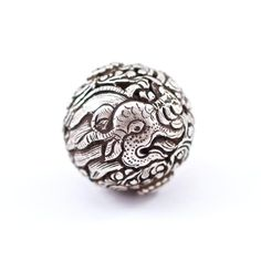 22 mm Silver/Copper Dragon Bead